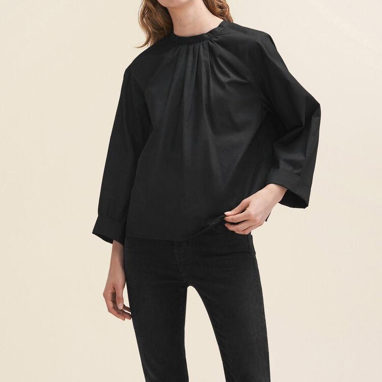 Blouse large ouverte au dos : Tops couleur Black