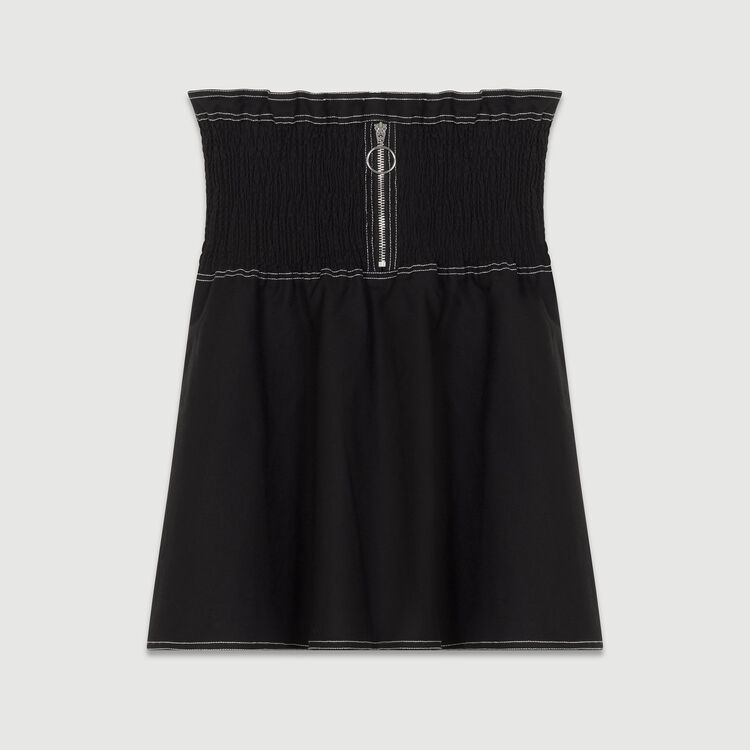 Jupe courte smockée en coton Stretch : Jupes & Shorts couleur Black