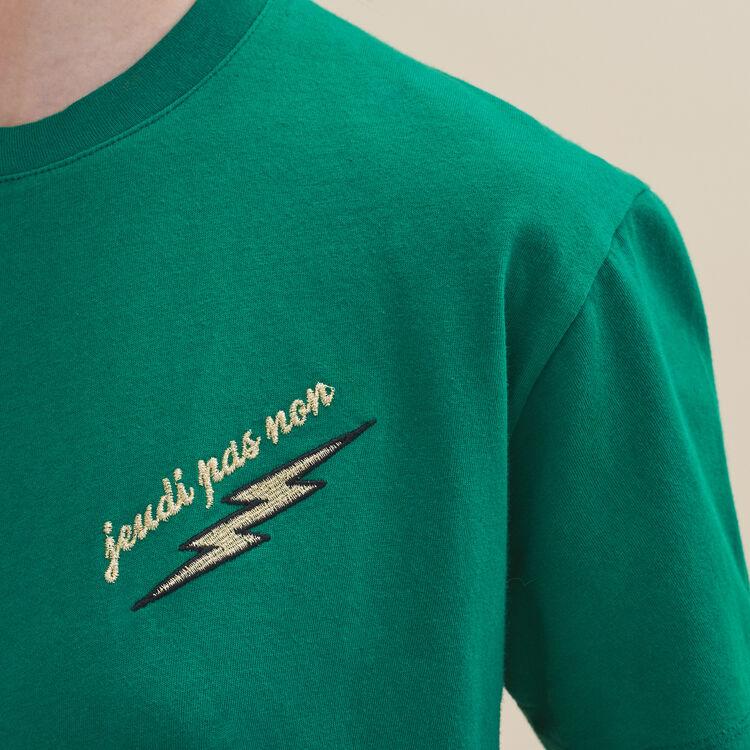 Tee-shirt brodé Jeudi : T-shirts couleur VERT