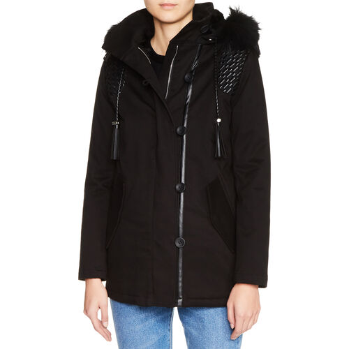 Parka with leather details : Coats & Jackets color Navy