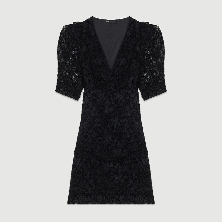 Robe en dentelle de velours : Robes couleur Black