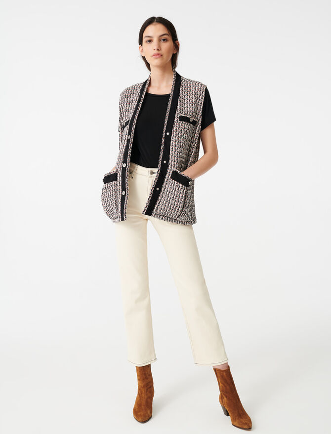 Sleeveless lurex tweed-style jacket -  - MAJE