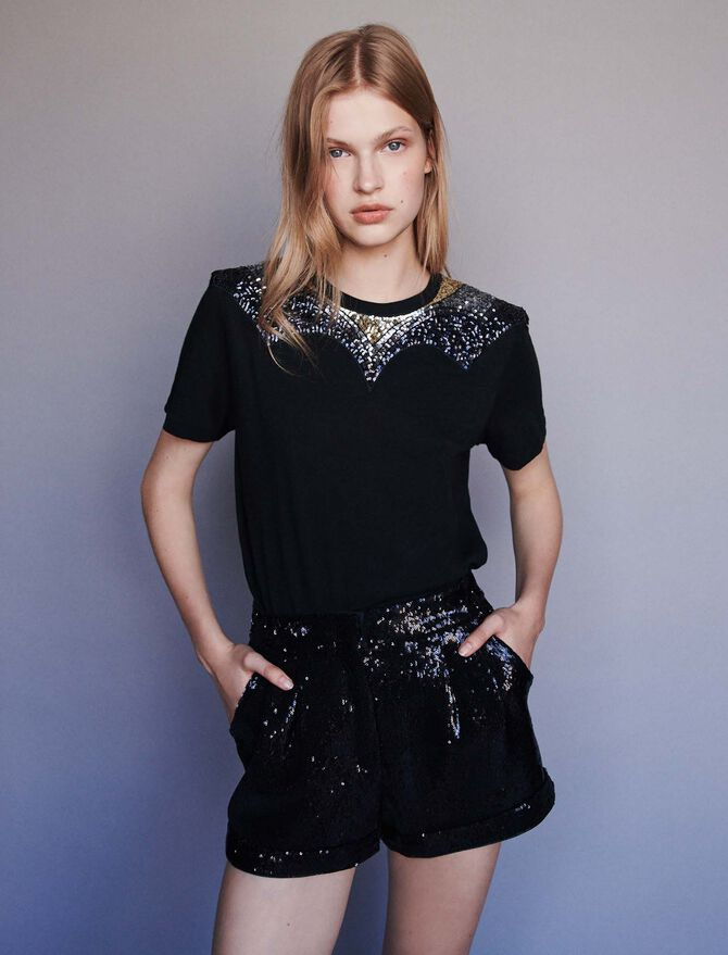 Jersey t-shirt with sequins -  - MAJE