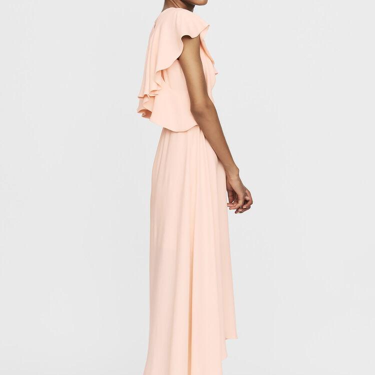 Robe longue asymétrique sans manches : Nouvelle Collection couleur PECHE