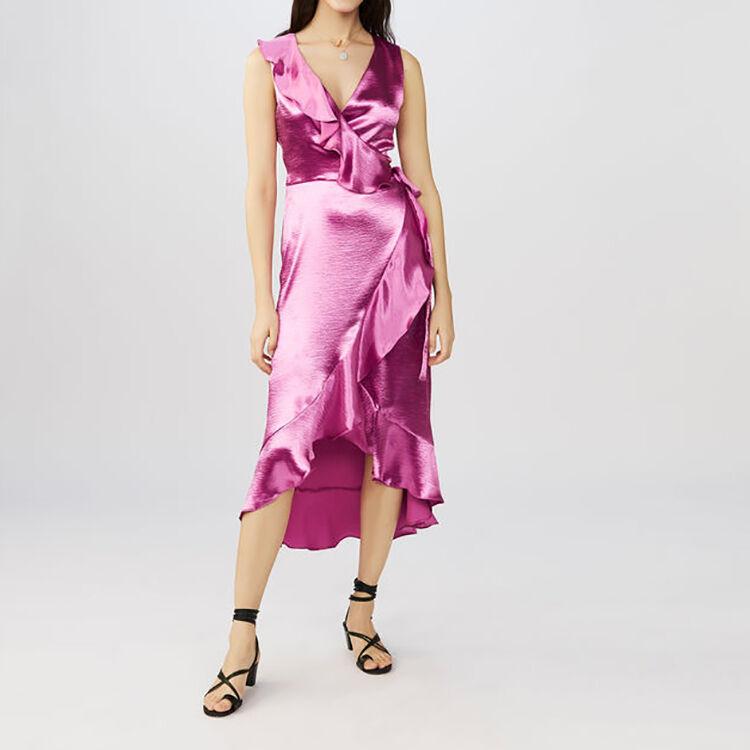 Robe de soirée satinée à volants : Robes couleur Fushia