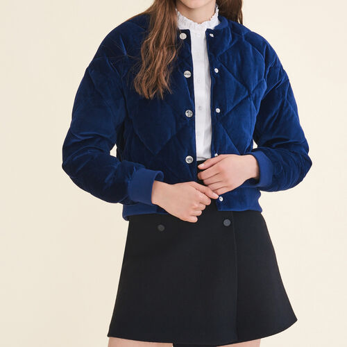 Cropped velvet bomber jacket : Jackets color Navy