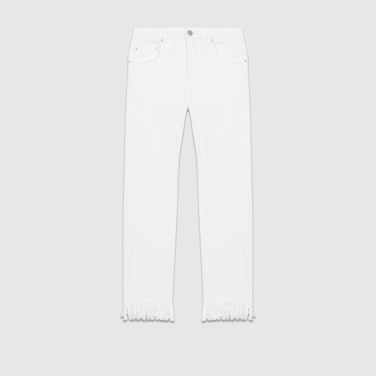Jean droit avec ourlet frangé : Jeans couleur Blanc