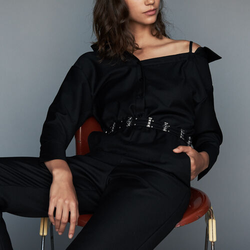 Cold shoulder jumpsuit : Trousers color Black 210