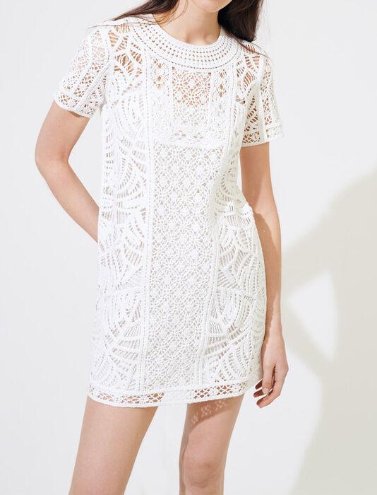 Robe droite façon macramé : Robes couleur Blanc