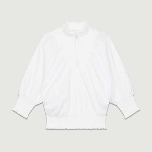 Blouse en popeline de coton avec smocks : Tops couleur BLANC