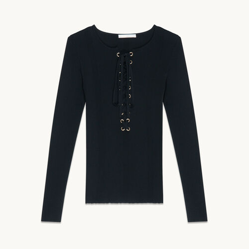 Locknit jumper with lacing - null - MAJE