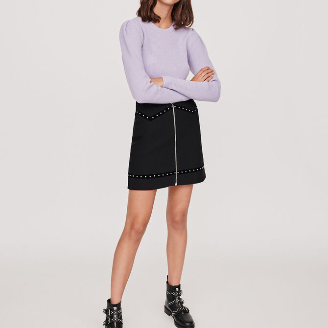 Studded pencil skirt with velvet trim - See all - MAJE