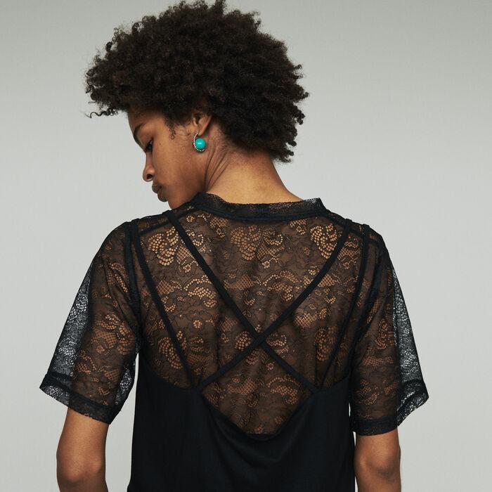 Top trompe l'oeil avec dentelle : SoldesUK-All couleur Black