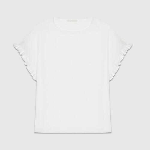 Top loose avec détails volantés : T-Shirts couleur BLANC