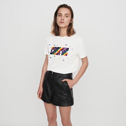 Short en cuir avec revers et surpiqûres : Jupes & Shorts couleur Noir