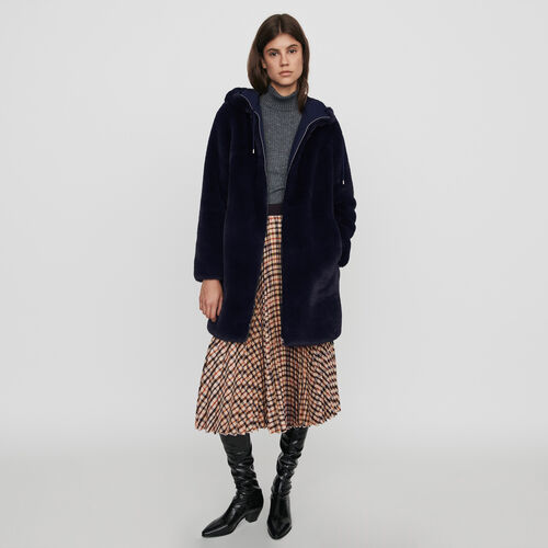 Hooded faux fur jacket : Coats & Jackets color Blue