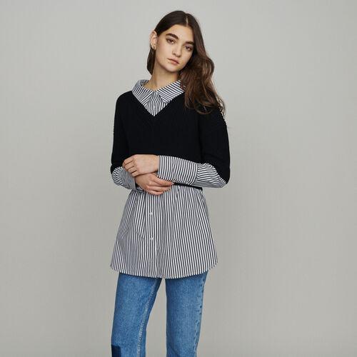 Pull court avec chemise trompe l'oeil : Pulls & Cardigans couleur Black