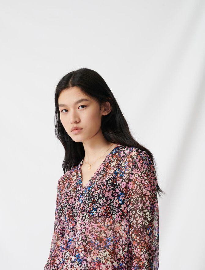 Blouse à imprimé floral en soie - Tops & Chemises - MAJE
