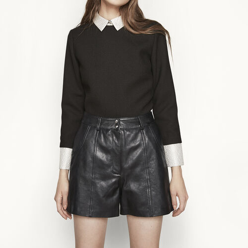 High-waisted leather shorts : Skirts & Shorts color BLACK