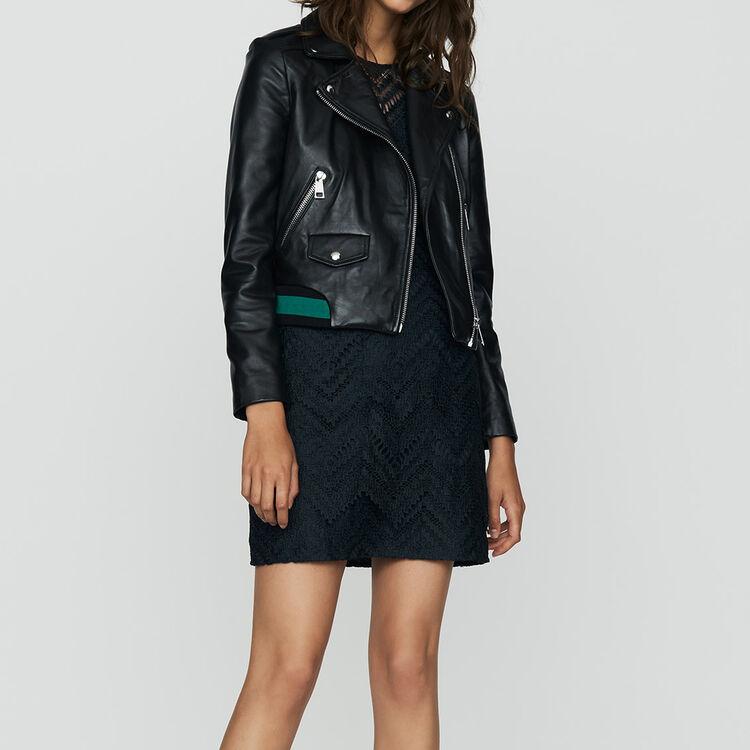 Blouson en cuir avec détail côtelé : Cuir couleur BLACK