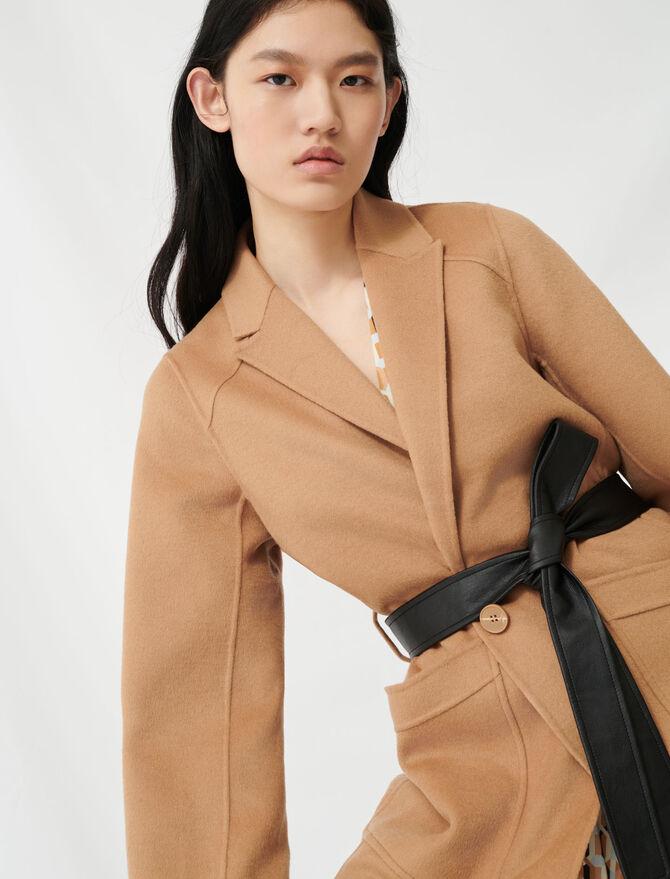 Camel belted coat - Coats & Jackets - MAJE