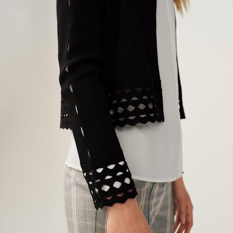 Cardigan avec détails ajourés : Maille couleur Black