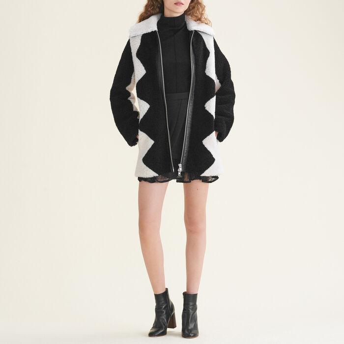 Manteau en peau lainée bicolore : Manteaux couleur Bicolore