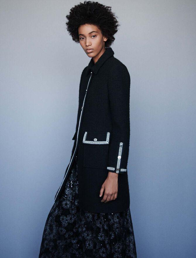 Tweed-style contrast coat - Coats & Jackets - MAJE