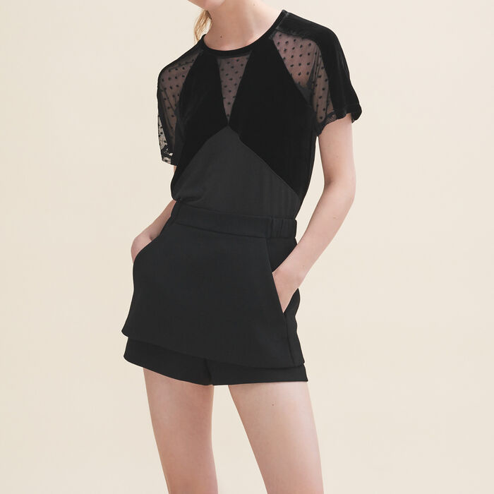 Tee-shirt en velours et plumetis : T-shirts couleur Black