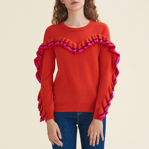 Wool and cashmere ruffle sweater : Sweaters & Cardigans color Orange