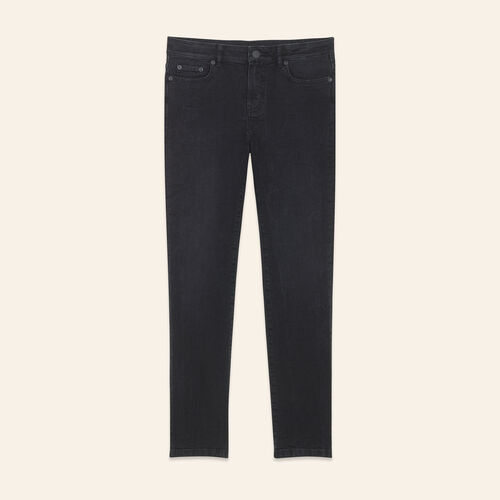 Straight-cut cropped jeans : Trousers & Jeans color Black 210