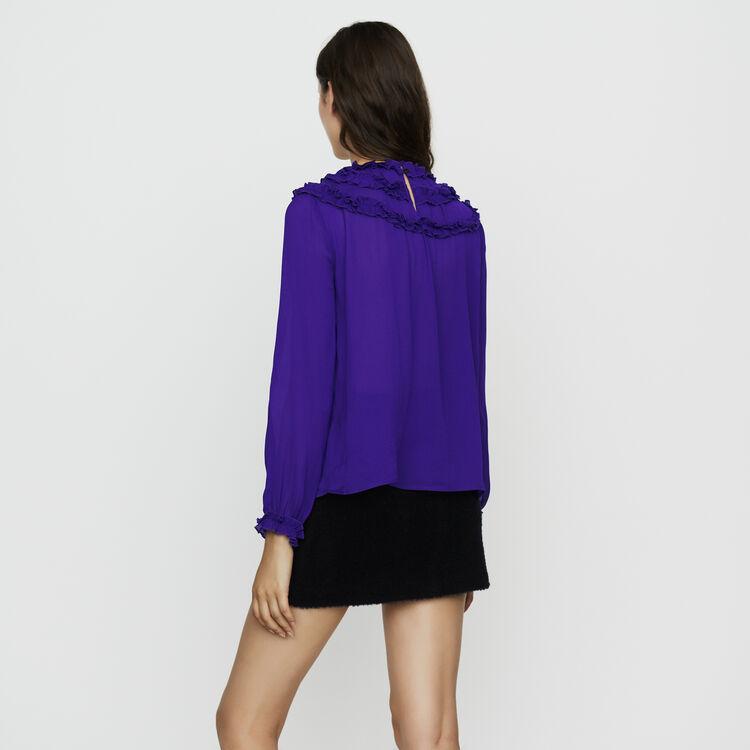 Top en crêpe avec volants : Tops couleur Violet