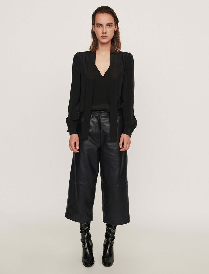 Leather bermuda-like pants - See all - MAJE