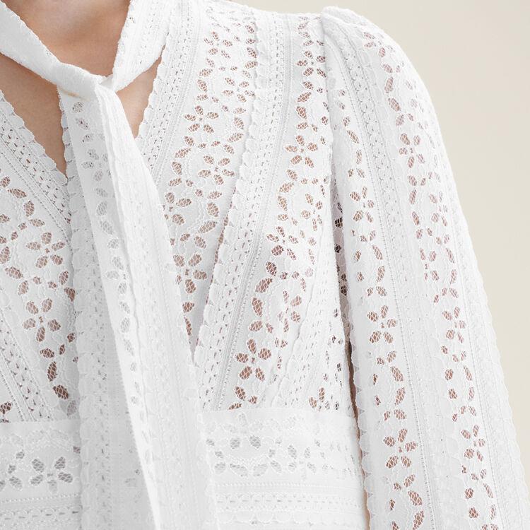 Top brodé avec liens : Tops couleur Blanc