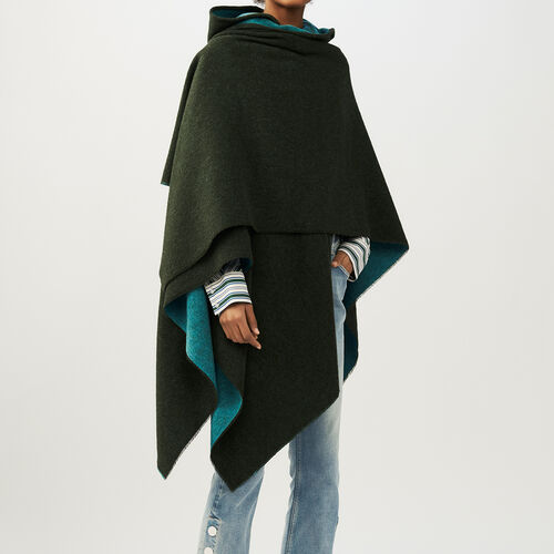 Reversible hooded poncho : Accessories color Khaki