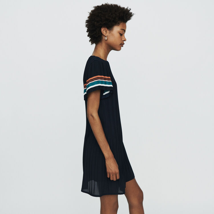 Pleated dress with contrasting stripes : Dresses color Navy