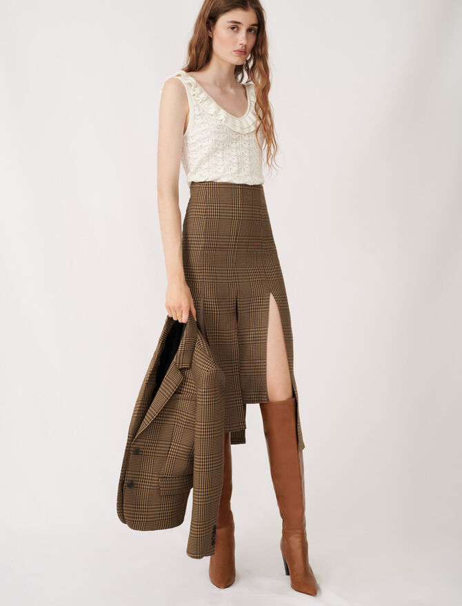 Jupe asymétrique à pans et carreaux - Jupes & Shorts - MAJE