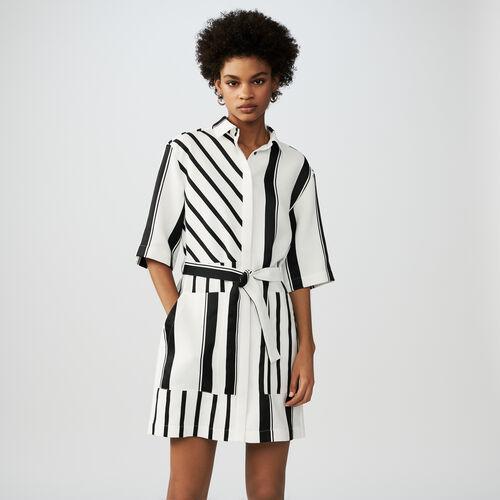 Robe chemise nouée à la taille : Robes couleur Rayure