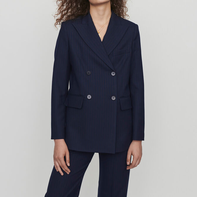 Racing-striped double breasted jacket - See all - MAJE