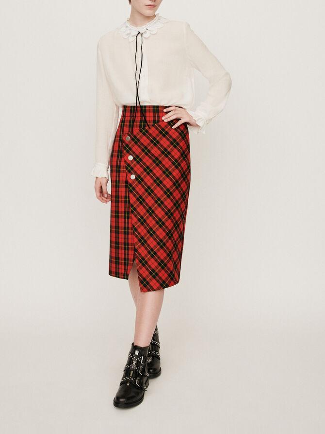Asymmetrical plaid skirt - Skirts & Shorts - MAJE