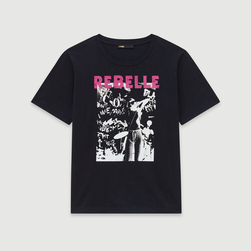 Silk screen printed tee shirt : Winter collection color Black