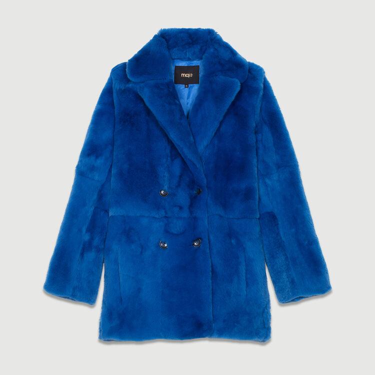 Manteau court en fourrure : Manteaux couleur Bleu