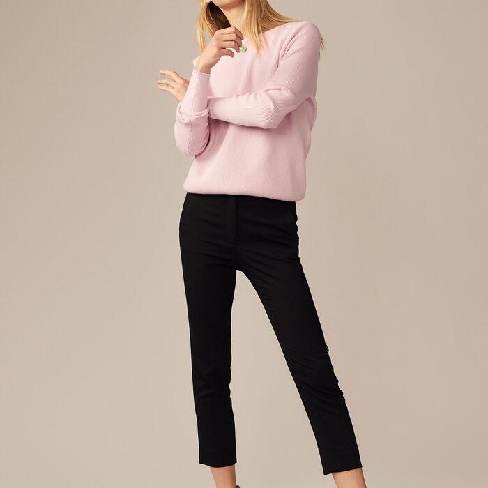 Pantalon droit en viscose : Pantalons couleur Black