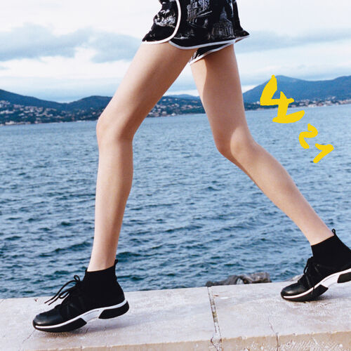 Sneakers montantes en maille stretch : Sneakers couleur Black