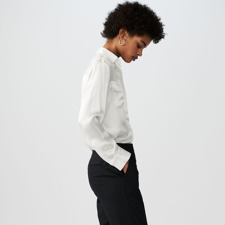 Chemise en satin de soie : Campagne FW19 couleur Blanc