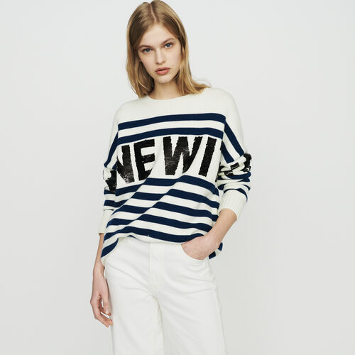 Sailor striped sweater in wool blend : Knitwear color Ecru