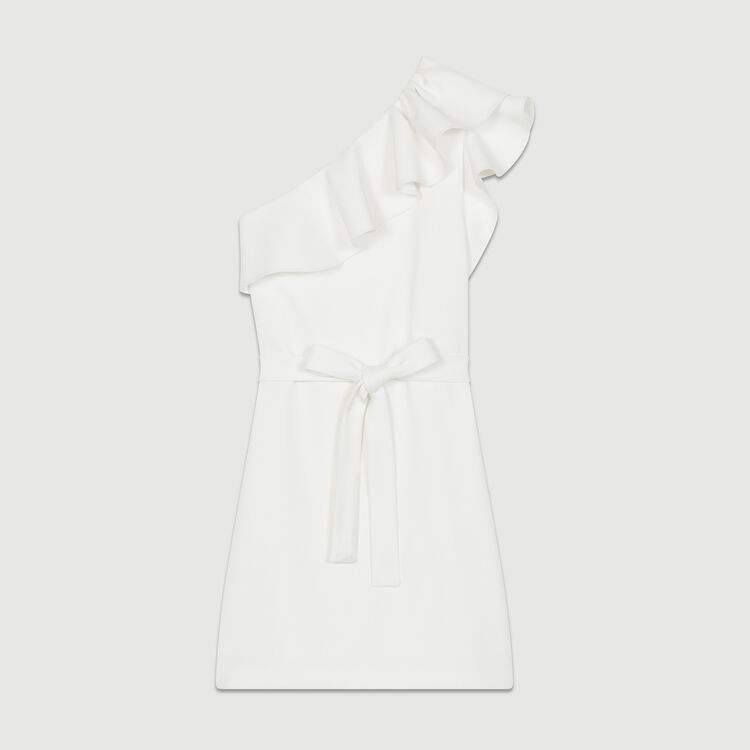 Robe courte avec épaules asymétriques : Robes couleur Blanc
