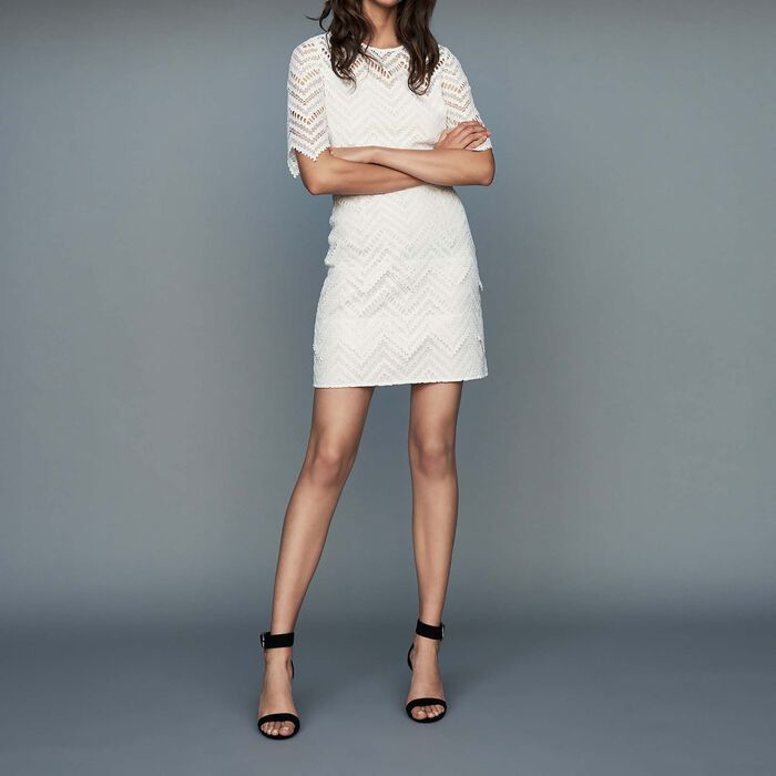 Robe droite en dentelle : Prêt-à-porter couleur Blanc