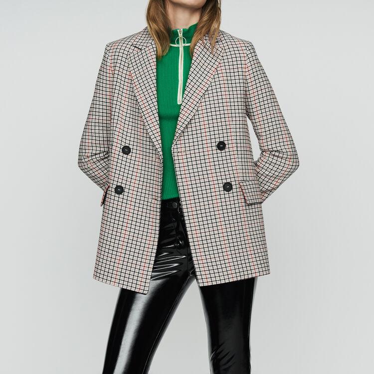Blazer à carreaux en laine mélangée : Vestes couleur CARREAUX
