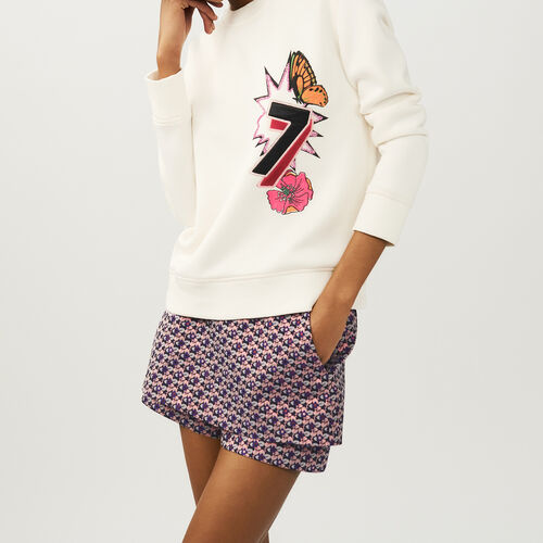 Quilted print sweatshirt : Sweaters & Cardigans color ECRU